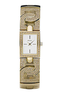 DKNY D–link crystal studded bracelet watch