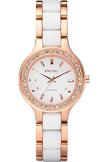 DKNY NY8141 rose gold and ceramic watch