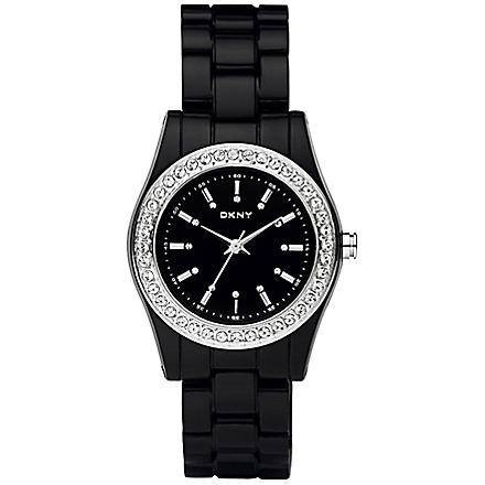 DKNY NY8146 stone-set black watch (Black