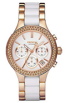 DKNY NY8183 rose gold and ceramic chronograph watch