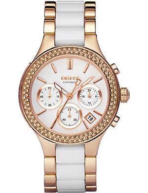 DKNY NY8183 rose gold and ceramic chronograph watch