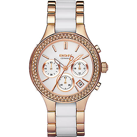 DKNY NY8183 rose gold and ceramic chronograph watch (White