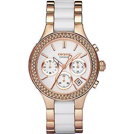 DKNY NY8183 rose gold and ceramic chronograph watch (White