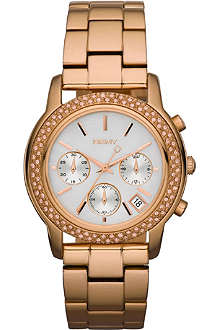 DKNY Rose gold stone–set chronograph watch