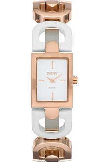 DKNY NY8547 ceramic and rose gold-plated watch
