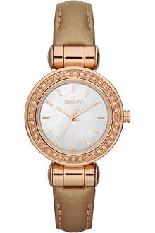 DKNY NY8563 rose gold-plated and leather watch
