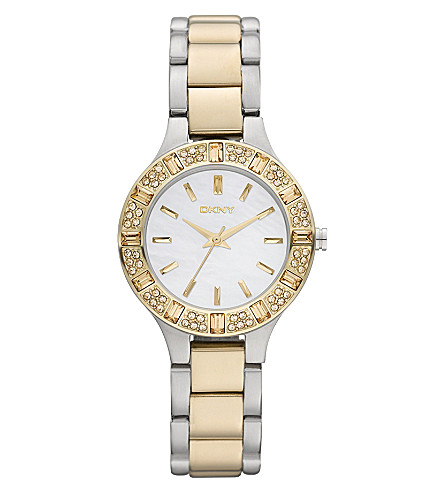 DKNY NY8742 two-tone gold-plated steel watch (White