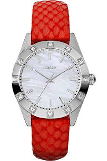 DKNY NY8786 stainless steel and leather watch