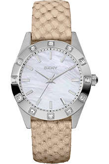 DKNY NY8789 stainless steel and leather watch
