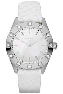 DKNY NY8790 stainless steel and leather watch