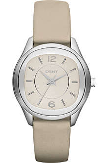 DKNY NY8809 Neutrals stainless steel and leather watch