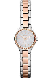 DKNY NY8811 glitz stainless steel rose gold-toned watch