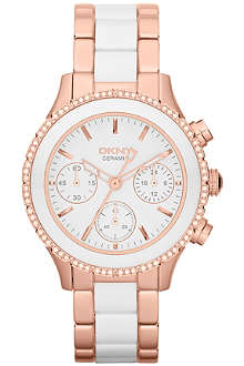 DKNY NY8825 ceramic and rose gold-toned chronograph watch