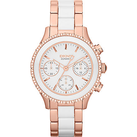 DKNY NY8825 ceramic and rose gold-toned chronograph watch (White