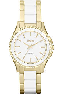 DKNY NY8829 Brooklyn gold-plated and ceramic chronograph watch