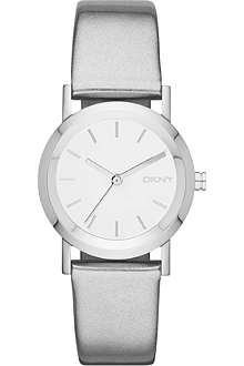 DKNY NY8857 Lexington stainless steel and leather strap watch