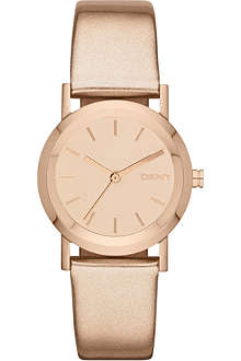 DKNY NY8859 Lexington rose gold-plated and leather strap watch