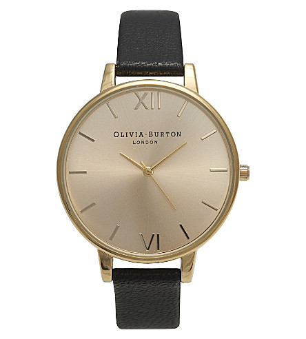 OLIVIA BURTON OB13BD06 big dial gold-plated and leather watch (Gold