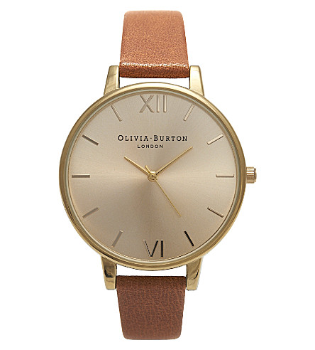 OLIVIA BURTON OB13BD09 big dial gold-plated and leather watch (Gold