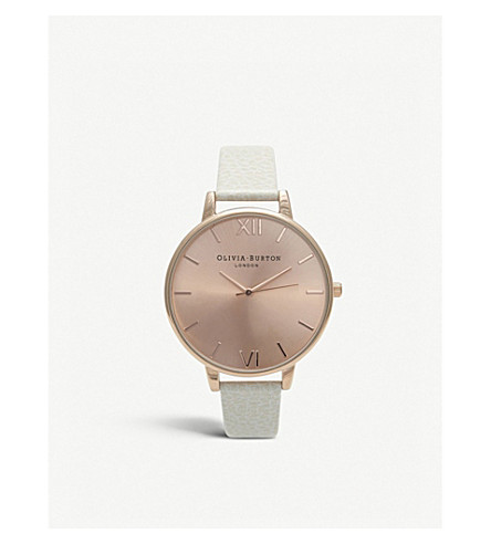 OLIVIA BURTON OB13BD11 Big Dial rose gold-plated and leather watch