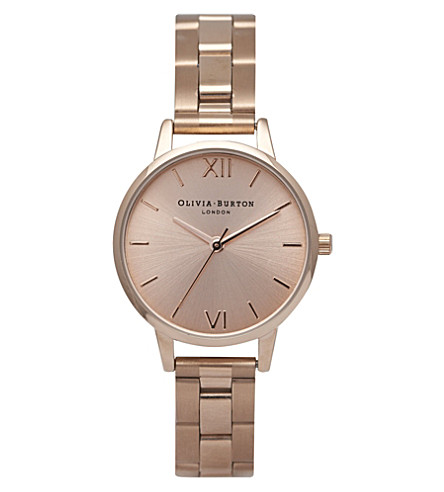 OLIVIA BURTON OB13BL05B rose gold-plated midi dial bracelet watch (Rose+gold