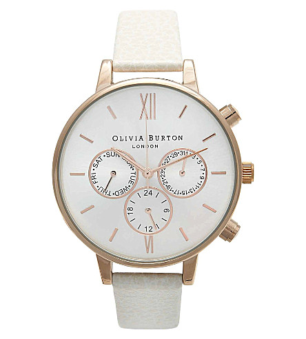 OLIVIA BURTON OB13CG01C rose gold-plated big dial chrono watch (Silver
