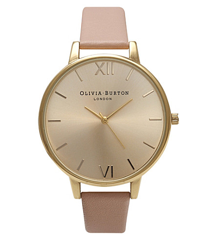 OLIVIA BURTON OB14BD31 big dial stainless steel and leather watch (Gold