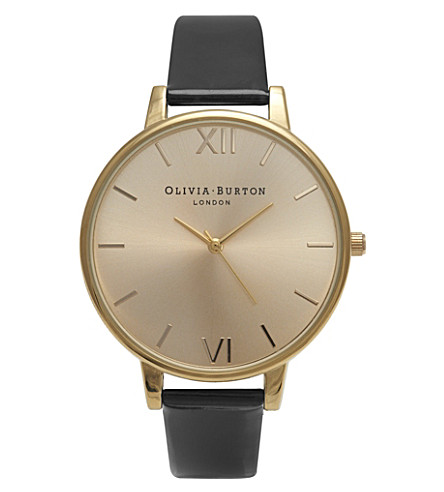 OLIVIA BURTON OB14EX37 Big Dial gold-plated and patent-leather watch (Gold