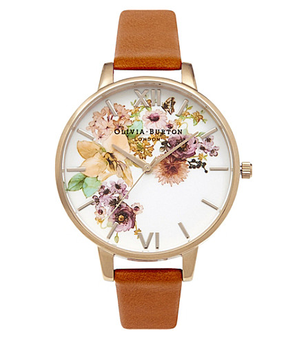 OLIVIA BURTON Ob14fs02 gold-plated and leather watch