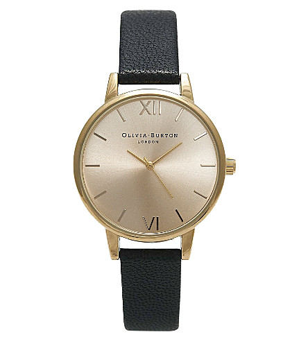 OLIVIA BURTON OB14MD20 midi dial gold-plated and leather watch (Gold