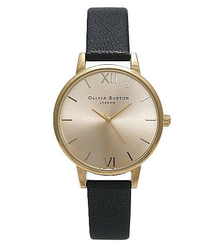 OLIVIA BURTON OB14MD20 迷笛表盘镀金和皮革手表 (黄金