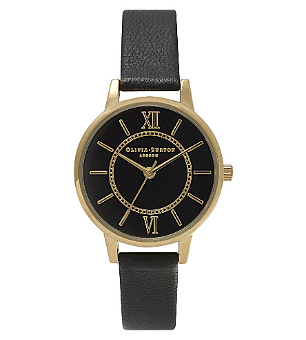 OLIVIA BURTON OB14WD25 Wonderland Black Dial gold-plated and leather watch (Black