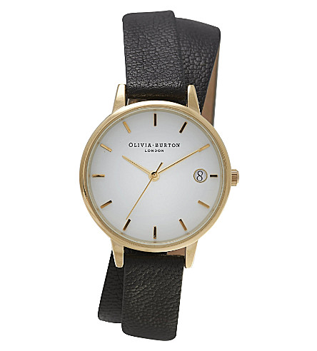 OLIVIA BURTON OB14WF05 The Dandy Wrap gold-plated and leather watch (White