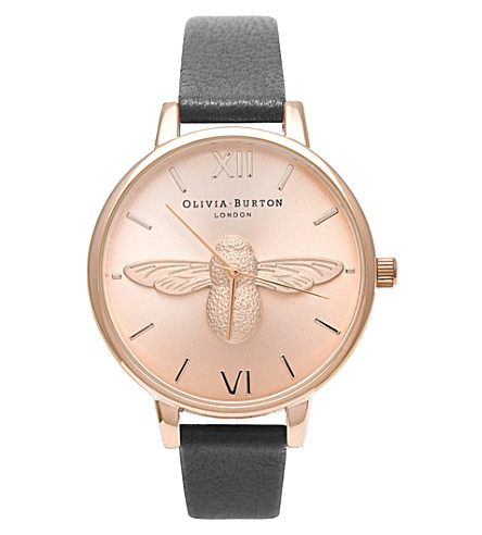OLIVIA BURTON Animal Motif leather and rose gold-plated watch (Rose gold