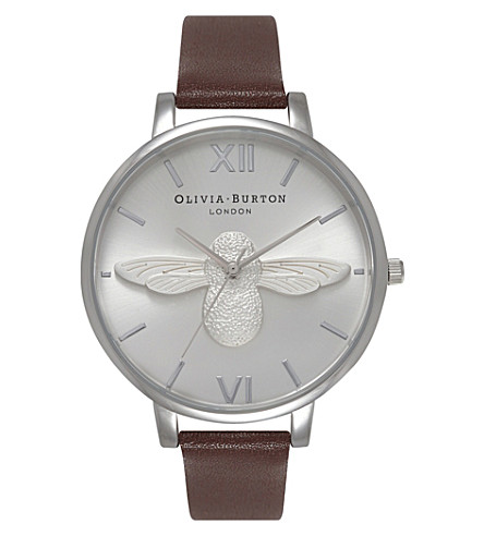 OLIVIA BURTON OB15AM60 stainless steel and leather watch (Silver