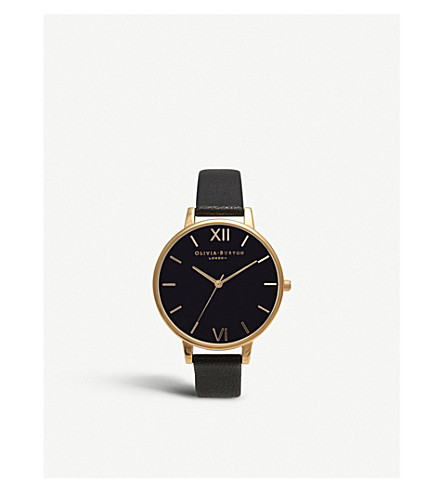 OLIVIA BURTON Big Dial leather and yellow gold-plated watch (Black