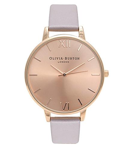 OLIVIA BURTON 大表盘皮革和玫瑰镀金手表