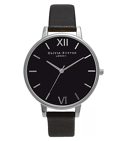 OLIVIA BURTON OB15BD65 Big Dial stainless steel and leather watch (Black