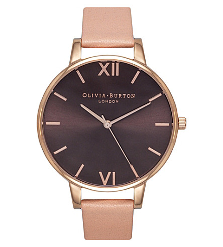 OLIVIA BURTON OB15BD72 big dial stainless steel and leather watch (Brown