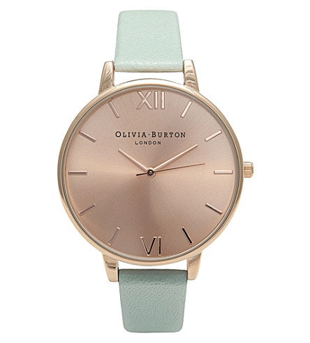 OLIVIA BURTON OB15BD75 big dial stainless steel and leather watch (Rose gold