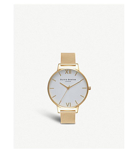 OLIVIA BURTON OB15BD84 White Dial gold mesh watch (Gold