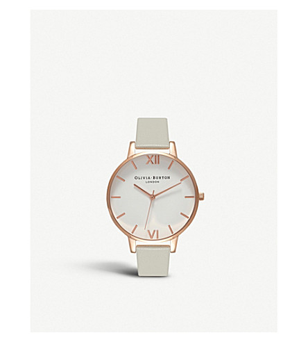 OLIVIA BURTON OB15BDW02 White Dial rose gold and leather watch (Grey