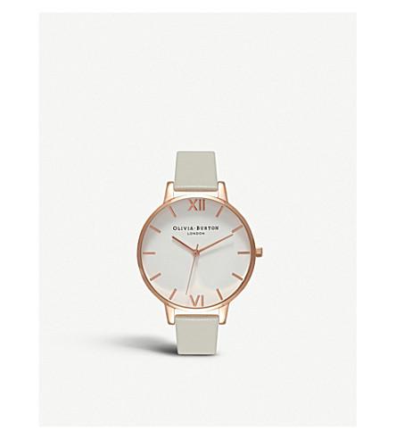 OLIVIA BURTON OB15BDW02 白表盘玫瑰金和皮革手表 (灰色