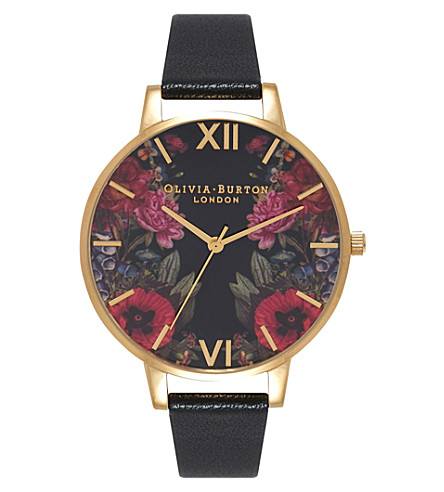 OLIVIA BURTON OB15EG34 enchanted garden stainless steel and leather watch (Multi-coloured