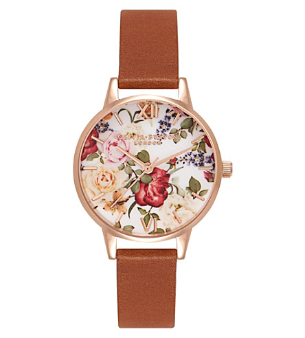 OLIVIA BURTON OB15EG35 enchanted garden stainless steel and leather watch (Multi-coloured