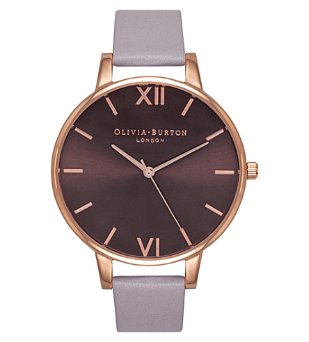 OLIVIA BURTON OB15EX75 Rose gold-plated and leather watch