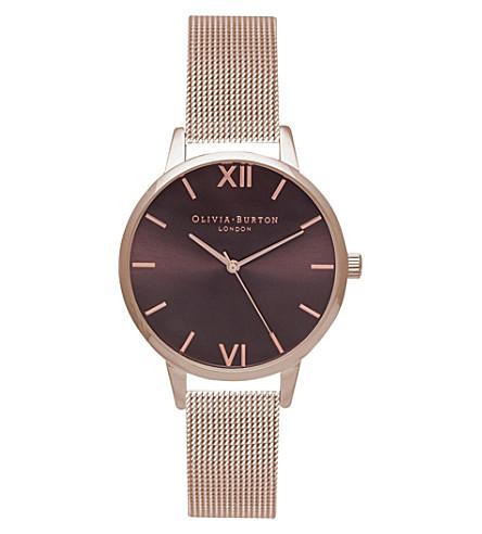 OLIVIA BURTON Midi rose gold-plated and mesh watch