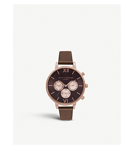 OLIVIA BURTON Chrono detail rose gold-plated and leather watch (Brown