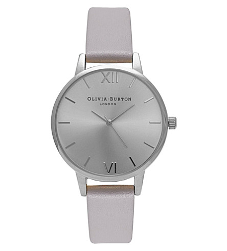 OLIVIA BURTON OB15MD41 Midi Dial stainless steel and leather watch (Silver