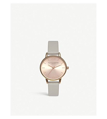 OLIVIA BURTON OB15MD46 midi dial stainless steel and leather watch (Rose+gold
